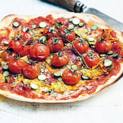Tomato, Zucchini and Salami Pizza