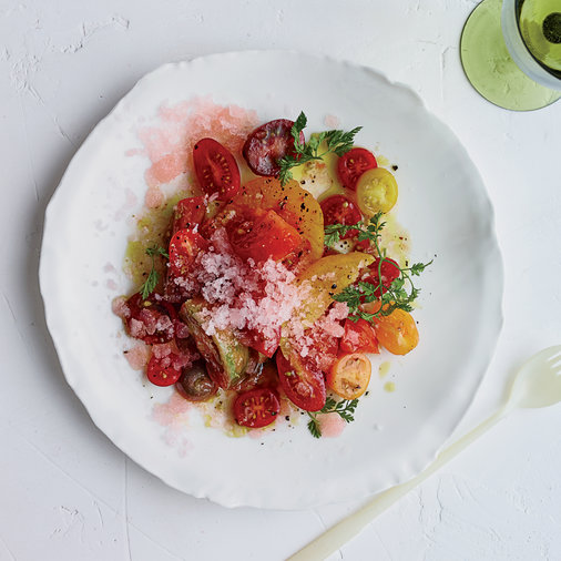 Tomato Salad with Tomato Water Granita