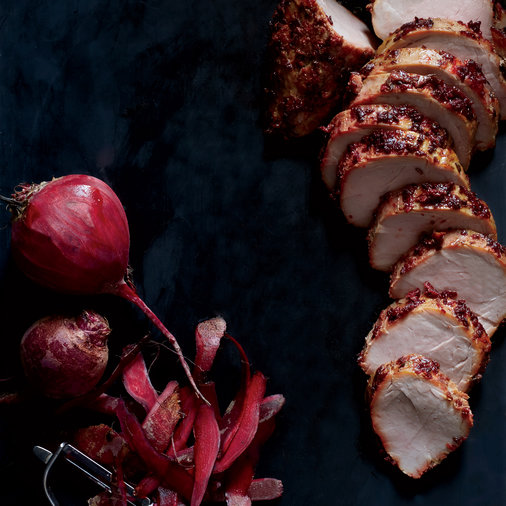 Beet-and-Carayway-Roasted Pork Tenderloin