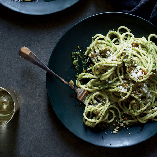Spaghetti with Radish-Greens Pesto