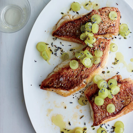 Red Snapper with Sweet and Spicy Pickled Grapes