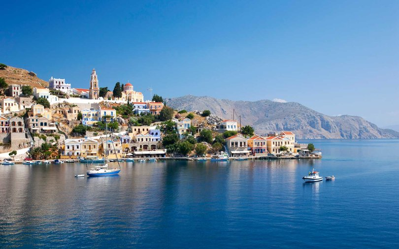 Harani Bay, Gialos (Yialos), Symi (Simi), Rhodes, Dodecanese Islands, South Aegean, Greece