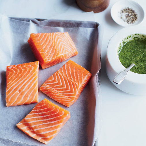 Roast Salmon with Lemony Basil Sauce