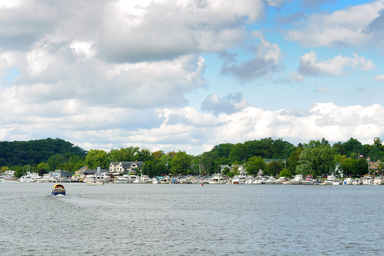 Boats at the little town of Saugatuck, Michigan, seen from the water