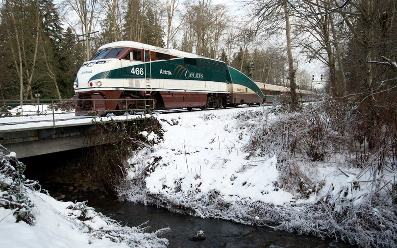 Amtrak Cascades train crossing Eagle Creek in Burnaby, British Columbia, Canada.