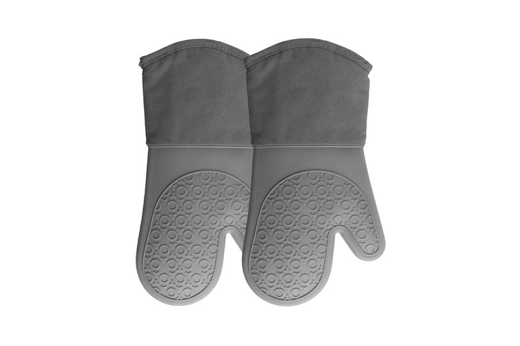 Silicone Oven Mitts Quilted Cotton Lining