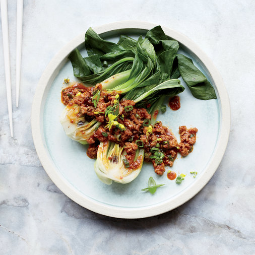 Steamed Bok Choy with Mapo-Style Pork