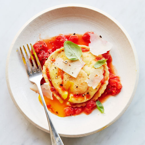 Uovo in Raviolo with Hand-Grated-Tomato Sauce