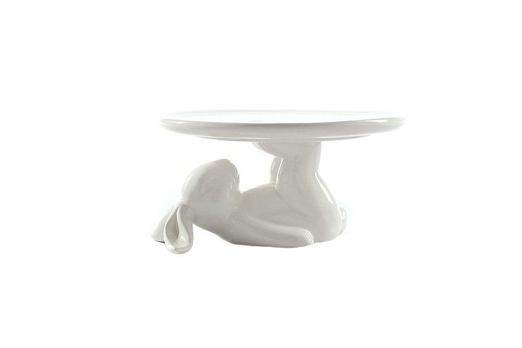 White Bunny Dessert Stand and Dish