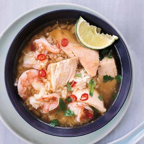 Cambodian Chicken-and-Rice Soup with Shrimp
