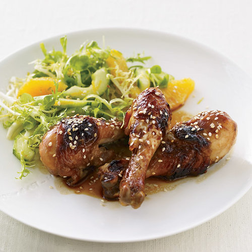 Honey-Soy Sauce Chicken with Mâche-and-Citrus Salad