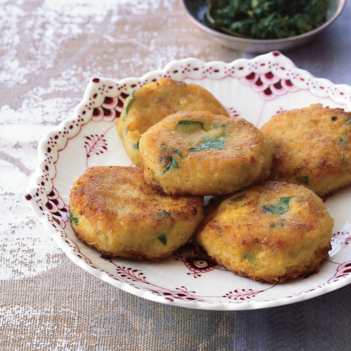 Cilantro-Flecked Corn Fritters with Chile-Mint Sauce