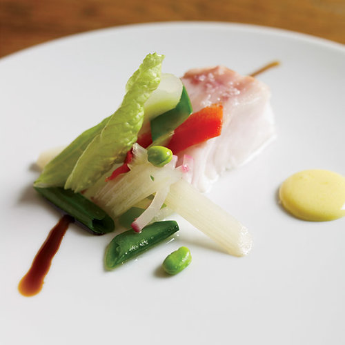 Slow-Baked Sea Bass with Egg Sauce and Garlic Foam
