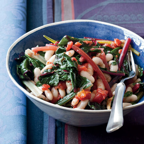 Quick White Bean Stew with Swiss Chard and Tomatoes