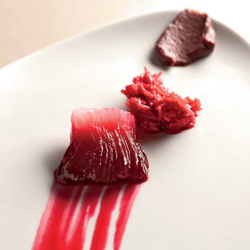 Beet-and-Orange-Infused Daikon with Onion Puree