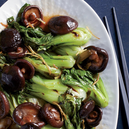 Grilled Bok Choy with Braised Mushrooms