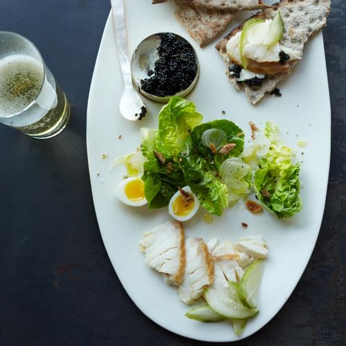 Smoked Sturgeon with Caviar and Everything Bagel Crumbs