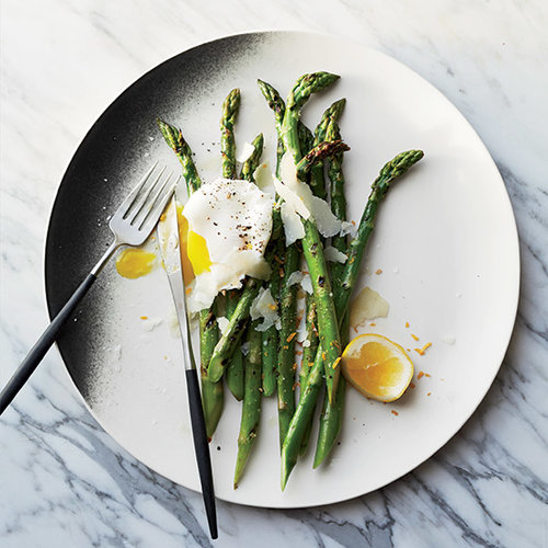 Grilled Asparagus with Pecorino and Meyer Lemon–Poached Eggs