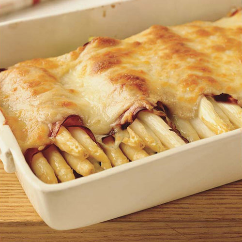 White Asparagus and Ham Gratin