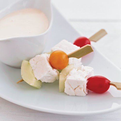 Greek Salad Skewers with Anchovy Aioli