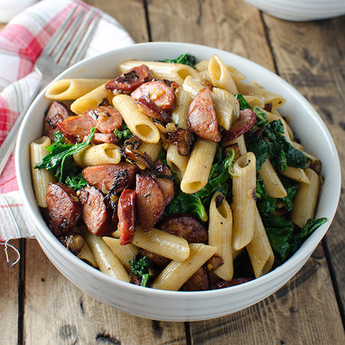 Whole-Wheat Pasta with Spicy Chorizo and Kale