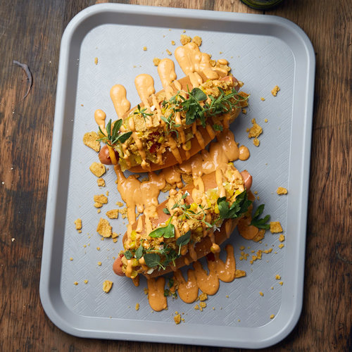 Loaded Hot Dogs with Chipotle Mayo
