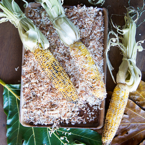 Grilled Corn with Jerk Mayo and Coconut