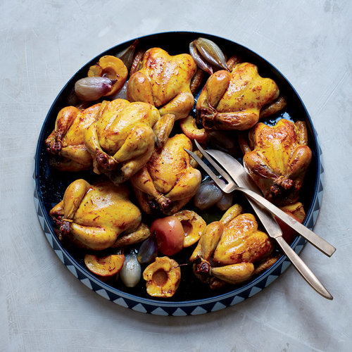 Saffron Butter–Basted Poussins with Apples (Joojeh ba Sib)