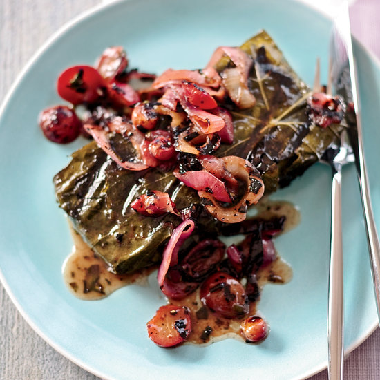 <p>Bluefish with Grape Leaves</p>
