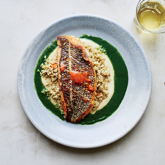Black Bass with Parsley Sauce, Eggplant, Freekeh and Chipotles