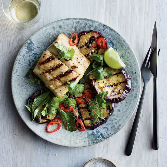 grilled cobia salad with corn and watermelon grilled sea bass with ...