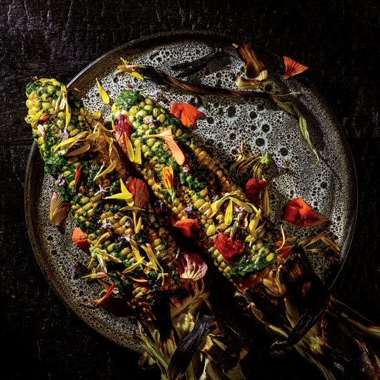 Grilled Corn with Nasturtium Emulsion and Flowers