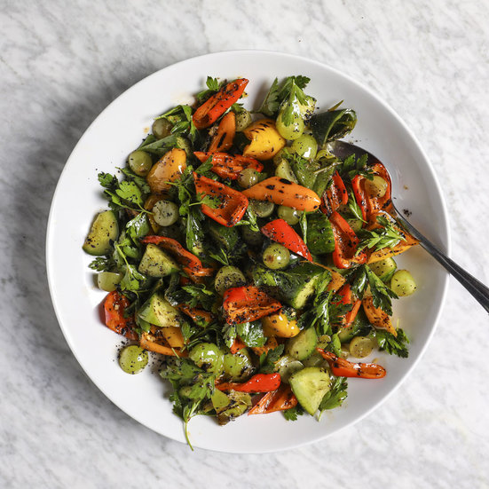 Grilled Pepper Salad with Cucumbers