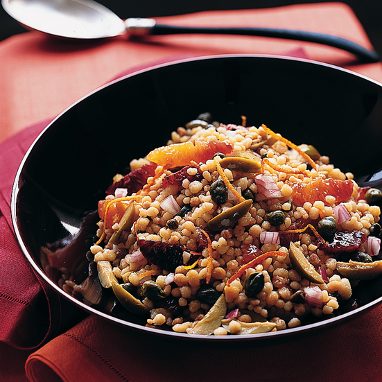Fregola with Blood Oranges and Sicilian Olives