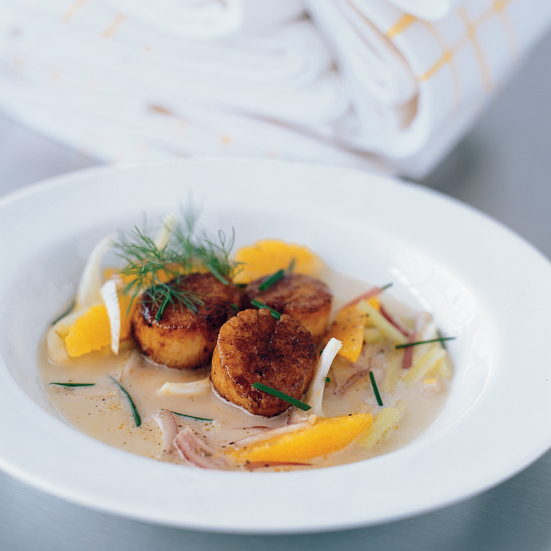 Kahan's Seared Sea Scallops with Fennel Broth and Orange