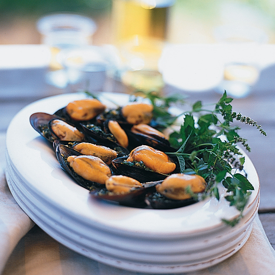 Mint Pesto-Stuffed Mussels