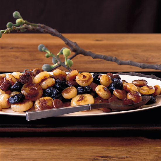 Caramelized Onions with Chestnuts and Prunes