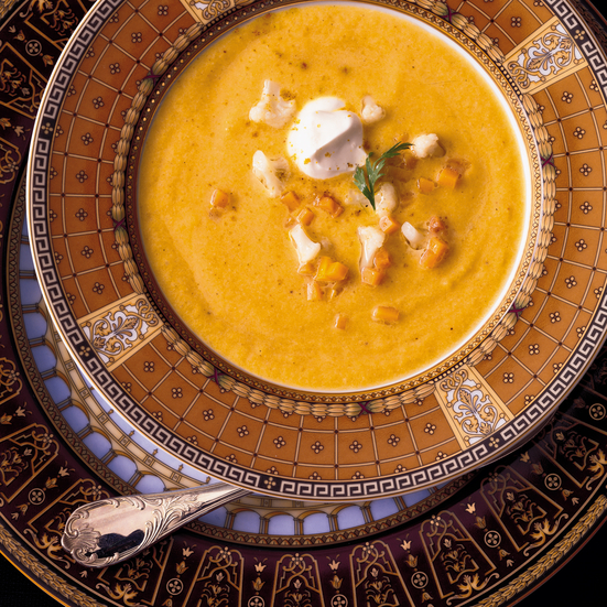 Curried Butternut Squash and Cauliflower Soup