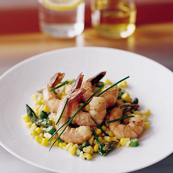 Coddled Shrimp with Corn and Asparagus Risotto