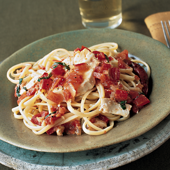 Spicy Linguine with Halibut and Tomato