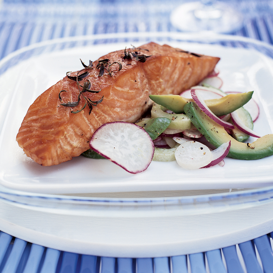 Ten-Minute Smoked Salmon with Avocado-Radish Salad