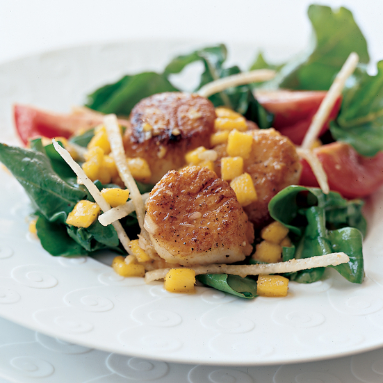 Curried Scallop Salad with Mango Dressing