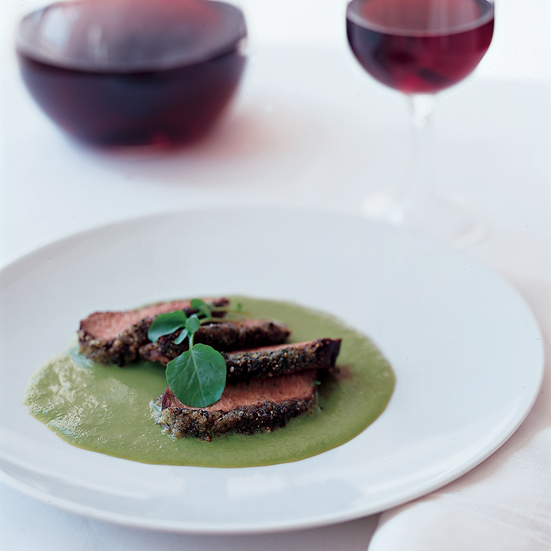 Lamb Marinated in Jasmine Tea with Sweet Pea Sauce