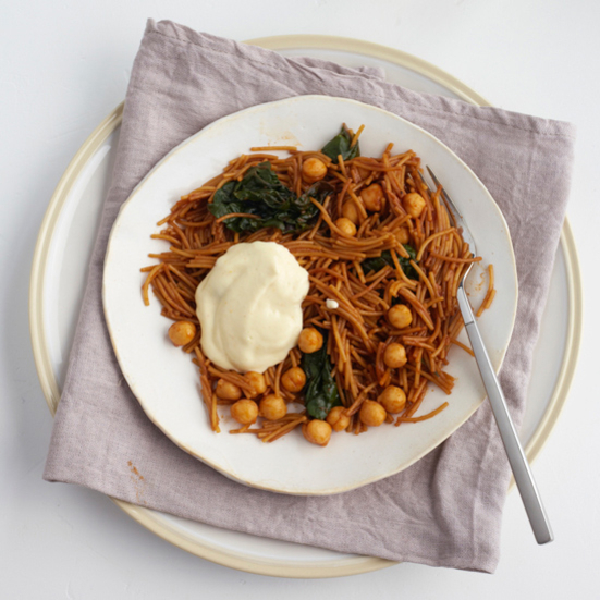 Chickpea and Swiss Chard Fideos with Orange Aioli