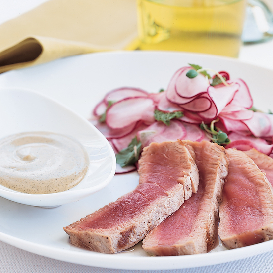 Seared Tuna with Radish Salad and Wasabi Dressing
