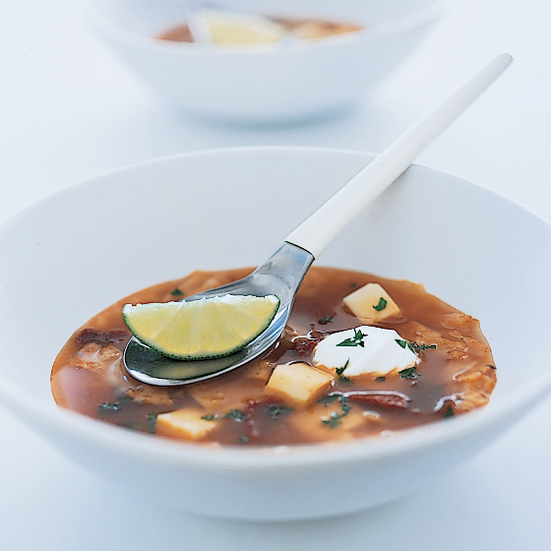Tortilla Soup with Cheese and Ancho Chiles