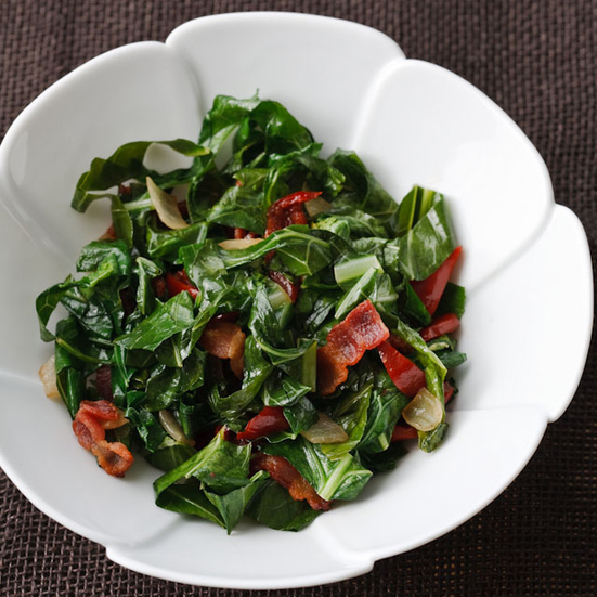 Cider-Braised Collards with Ham