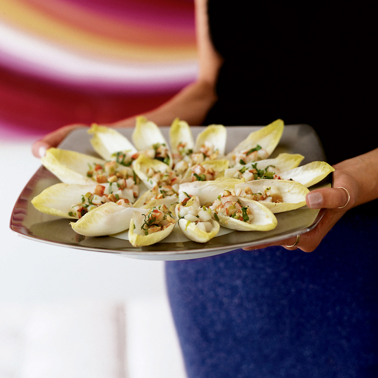 Hazelnut Shrimp in Endive Leaves