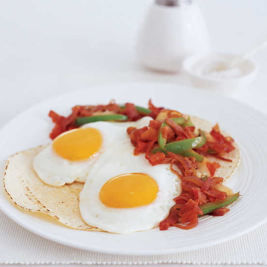 Huevos Rancheros with Spicy Ham Sofrito