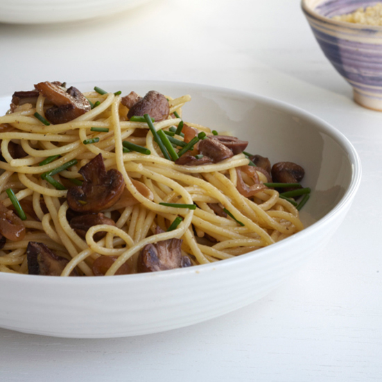 Spaghetti with Garlicky Marsala Mushrooms